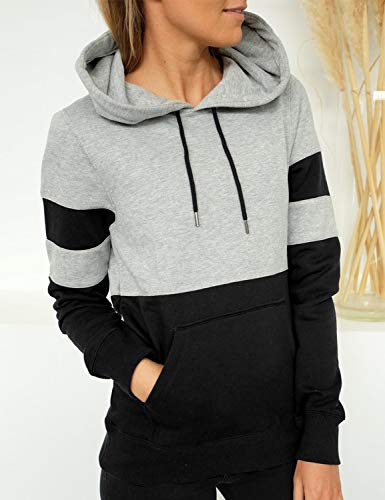 Blooming Jelly Women's Long Sleeve Hoodie Pullover Sweatshirt Patchwork Striped Jumper with Kanga Pocket Top 3