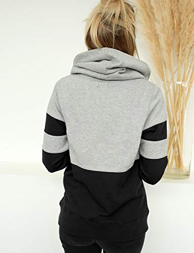 Blooming Jelly Women's Long Sleeve Hoodie Pullover Sweatshirt Patchwork Striped Jumper with Kanga Pocket Top 4
