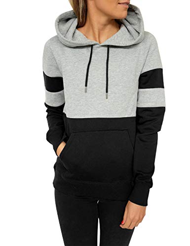 Blooming Jelly Women's Long Sleeve Hoodie Pullover Sweatshirt Patchwork Striped Jumper with Kanga Pocket Top 1