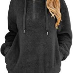 Bwiv Women's Baggy Fluffy Pullover Hoodie with 1/4 Zipper and Drawstring for Winter Ladies Long Sleeves Sweatshirt Soft… 17
