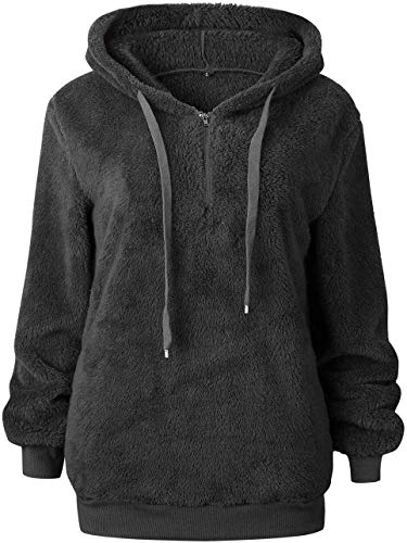 Bwiv Women's Baggy Fluffy Pullover Hoodie with 1/4 Zipper and Drawstring for Winter Ladies Long Sleeves Sweatshirt Soft… 8
