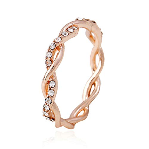 CanVivi Twist Ring Creative Weaving Rose Gold Color Inlaid Stone Diamond Simple Full Eternity Wedding Ring Lady Fashion… 4