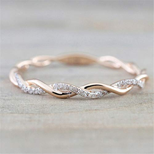 CanVivi Twist Ring Creative Weaving Rose Gold Color Inlaid Stone Diamond Simple Full Eternity Wedding Ring Lady Fashion… 5