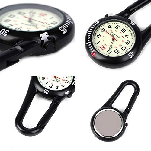 Clip on Carabiner Luminous Face FOB Watch Digital for Doctors Nurses Paramedics Chefs Sport Unisex Men Women 7