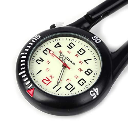 Clip on Carabiner Luminous Face FOB Watch Digital for Doctors Nurses Paramedics Chefs Sport Unisex Men Women 10