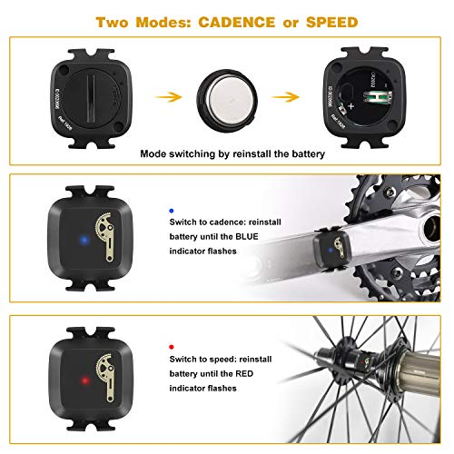 CooSpo Cadence/Speed Sensor with Bluetooth & ANT+, Dynamic-tracking Cadence Sensor for GPS bike computers Sport Watches… 4