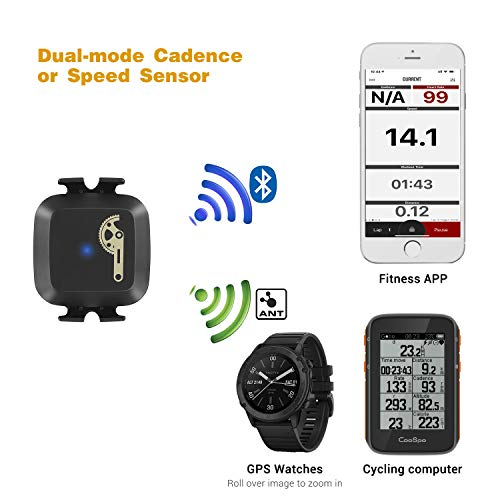 CooSpo Cadence/Speed Sensor with Bluetooth & ANT+, Dynamic-tracking Cadence Sensor for GPS bike computers Sport Watches… 6
