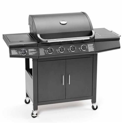 CosmoGrill Deluxe 4+1 Gas Burner Grill BBQ Barbecue incl. Side Burner - Black 61 x 42cm 93411 1