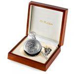 De Walden Godson Baptism Gift Engraved St Christopher Pocket Watch Wood Box MP 18