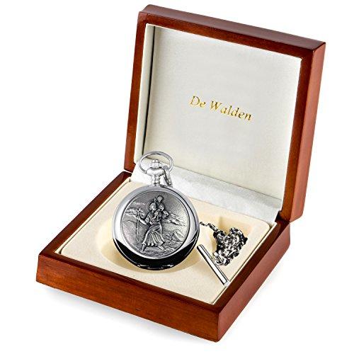 De Walden Godson Baptism Gift Engraved St Christopher Pocket Watch Wood Box MP 7