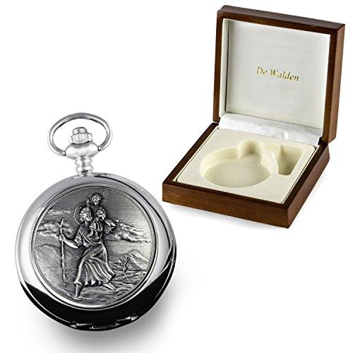 De Walden Godson Baptism Gift Engraved St Christopher Pocket Watch Wood Box MP 2