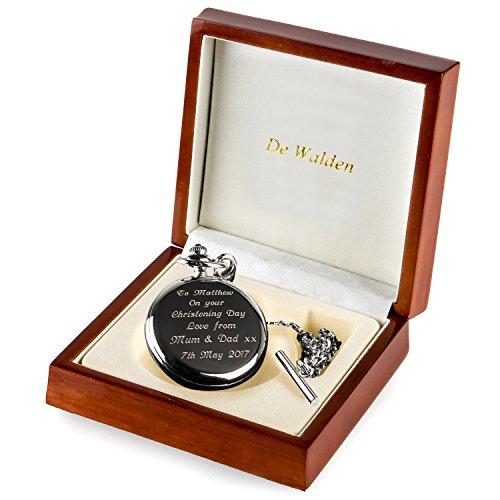 De Walden Godson Baptism Gift Engraved St Christopher Pocket Watch Wood Box MP 6