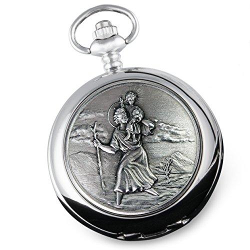 De Walden Godson Baptism Gift Engraved St Christopher Pocket Watch Wood Box MP 4