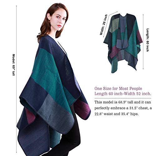 DiaryLook Ladies Printed Poncho Cape Reversible Oversized Shawl Wrap Open Front Cardigans for Women 3