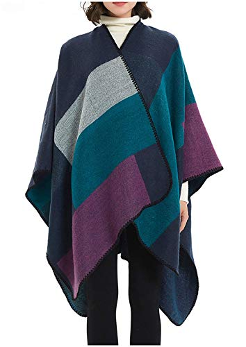 DiaryLook Ladies Printed Poncho Cape Reversible Oversized Shawl Wrap Open Front Cardigans for Women 5