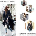 DiaryLook Ladies Printed Poncho Cape Reversible Oversized Shawl Wrap Open Front Cardigans for Women 19