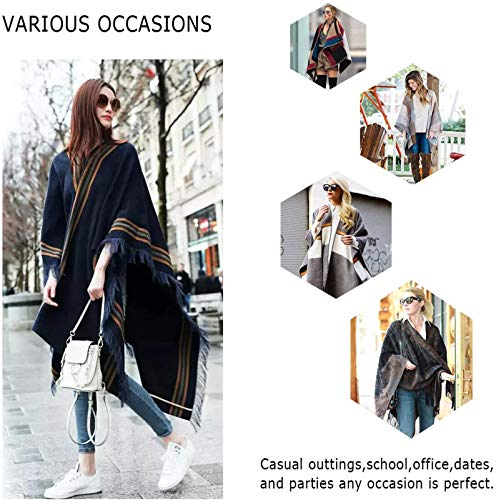 DiaryLook Ladies Printed Poncho Cape Reversible Oversized Shawl Wrap Open Front Cardigans for Women 6