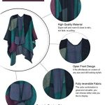 DiaryLook Ladies Printed Poncho Cape Reversible Oversized Shawl Wrap Open Front Cardigans for Women 20