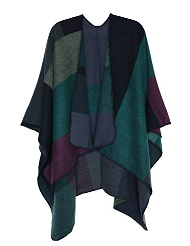 DiaryLook Ladies Printed Poncho Cape Reversible Oversized Shawl Wrap Open Front Cardigans for Women 1