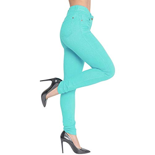 FROOTY Women Ladies Plain Colour High Waisted Skinny Jeggings Stretch Jeans Denim Pant 1