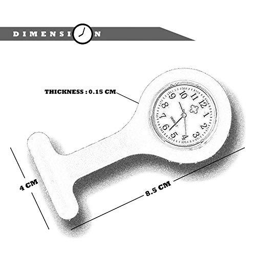 Lizzy Fashion Silicone Nurse Watch Durable Brooch Fob Medical Watch (Polka Dot Black) 4