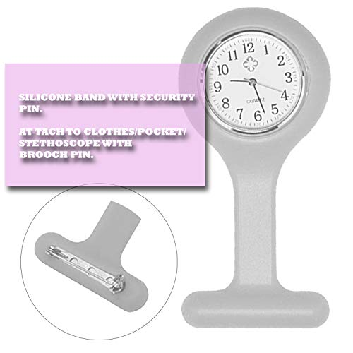 Lizzy Fashion Silicone Nurse Watch Durable Brooch Fob Medical Watch (Polka Dot Black) 6