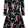 Fashion Star Womens Xmas Santa Snowman Star Swing Mini Dress 3