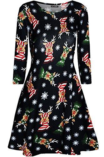 Fashion Star Womens Xmas Santa Snowman Star Swing Mini Dress 1