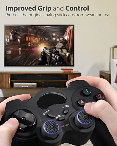 Fosmon A1669 Silicone Thumb Stick Grip Caps (2 Pair) for PS4, PS3, Wii U, and Xbox 360 - Black/Blue 3