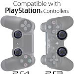 Fosmon A1669 Silicone Thumb Stick Grip Caps (2 Pair) for PS4, PS3, Wii U, and Xbox 360 - Black/Blue 17