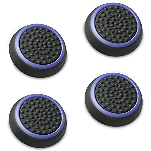 Fosmon A1669 Silicone Thumb Stick Grip Caps (2 Pair) for PS4, PS3, Wii U, and Xbox 360 - Black/Blue 1