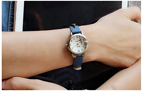 Fq-234 Brown Leather Strap Bowknot Kitty Design Students Girls Woman Quartz Wrist Watches 3