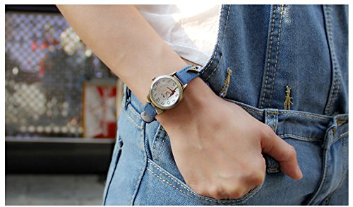 Fq-234 Brown Leather Strap Bowknot Kitty Design Students Girls Woman Quartz Wrist Watches 6