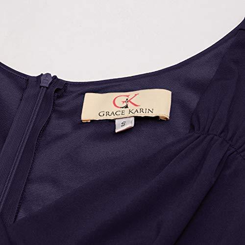 GRACE KARIN Women 50s Vintage Sleeveless V-Neck A-Line Swing Party Cocktail Dress 3