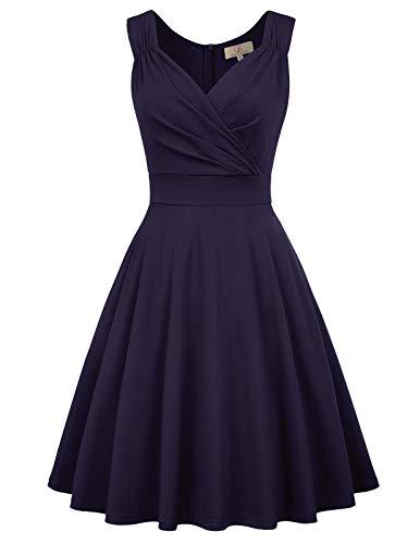 GRACE KARIN Women 50s Vintage Sleeveless V-Neck A-Line Swing Party Cocktail Dress 1