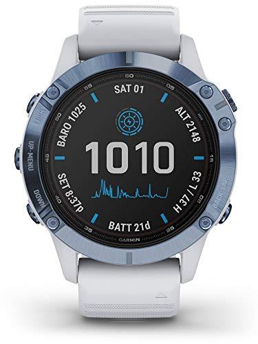 Garmin Fenix 6 Pro Solar Edition Whitestone Rubber Strap Watch 010-02410-19 1