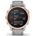 Garmin Fenix 6S Sapphire Multisport GPS Watch, Rose Gold-Tone with Powder Grey Band 22