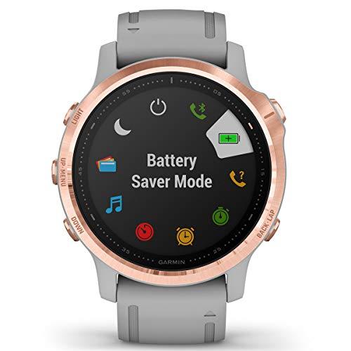 Garmin Fenix 6S Sapphire Multisport GPS Watch, Rose Gold-Tone with Powder Grey Band 4