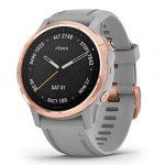 Garmin Fenix 6S Sapphire Multisport GPS Watch, Rose Gold-Tone with Powder Grey Band 21