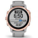 Garmin Fenix 6S Sapphire Multisport GPS Watch, Rose Gold-Tone with Powder Grey Band 24