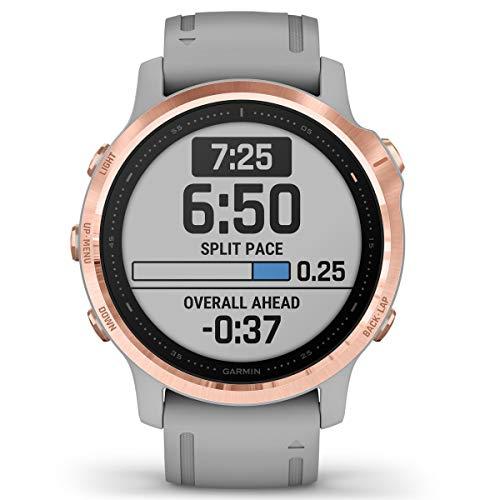 Garmin Fenix 6S Sapphire Multisport GPS Watch, Rose Gold-Tone with Powder Grey Band 5