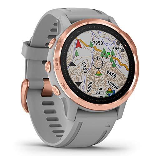 Garmin Fenix 6S Sapphire Multisport GPS Watch, Rose Gold-Tone with Powder Grey Band 6