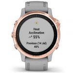 Garmin Fenix 6S Sapphire Multisport GPS Watch, Rose Gold-Tone with Powder Grey Band 26