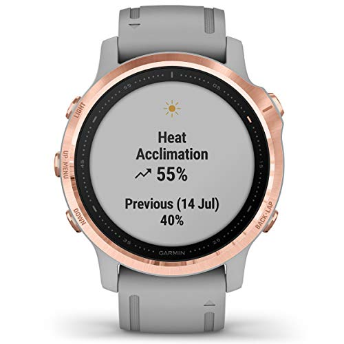 Garmin Fenix 6S Sapphire Multisport GPS Watch, Rose Gold-Tone with Powder Grey Band 7