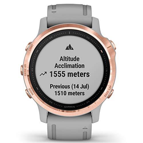 Garmin Fenix 6S Sapphire Multisport GPS Watch, Rose Gold-Tone with Powder Grey Band 9
