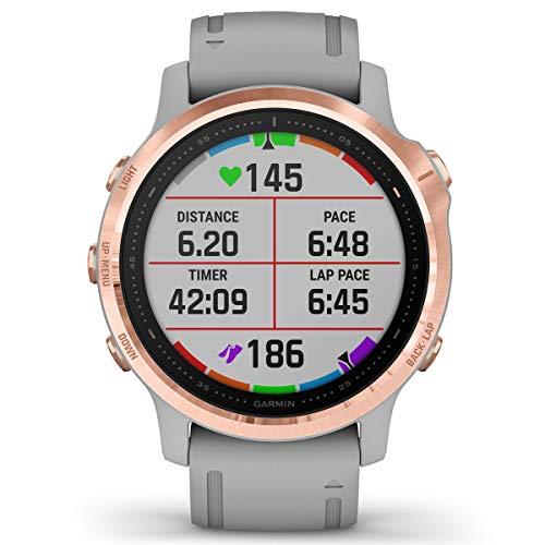Garmin Fenix 6S Sapphire Multisport GPS Watch, Rose Gold-Tone with Powder Grey Band 10