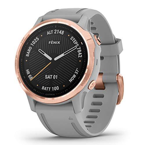 Garmin Fenix 6S Sapphire Multisport GPS Watch, Rose Gold-Tone with Powder Grey Band 1