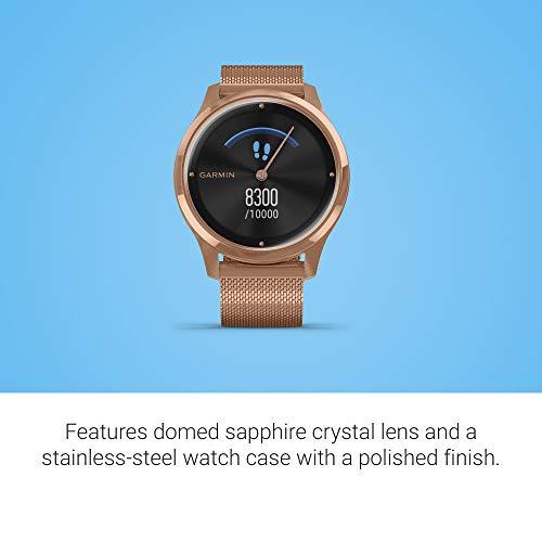 Garmin Vivomove Luxe Rose Gold PVD Milanese Strap Watch 010-02241-04 5