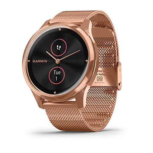 Garmin Vivomove Luxe Rose Gold PVD Milanese Strap Watch 010-02241-04 1