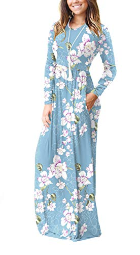 HAOMEILI Women's Casual Long/Short Sleeve Maxi Dress with Pockets 3